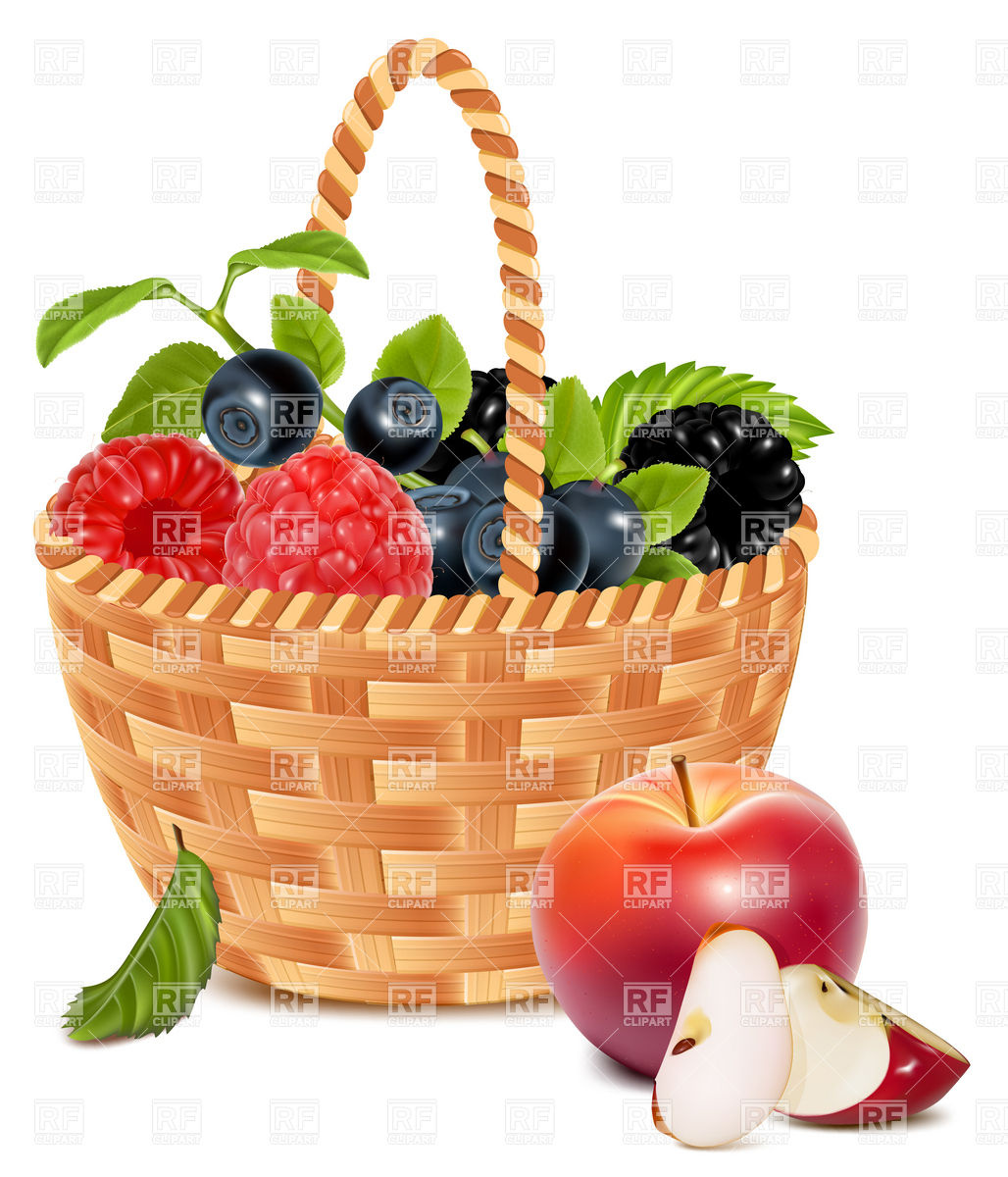 Vector. Ripe forest berries in the basket and red apples.